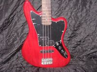 SQUIER JAGUAR SS BASS IN RED.WITH ACTIVE MID BOOST CONTROL