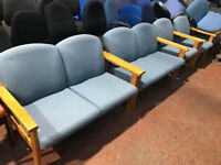 Light Blue Reception Seating with Arms (2 Seater)