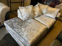 New Dunelm Jasper Chaise Sofa Section Only Left hand Corner Section in Silver Crushed Velvet Fabric