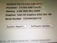 "MacBook Pro 13"" Late 2011, 4GB RAM, 500 GB HDD, i5 2.4 GHz"