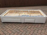 Single size adjustable/profile bed, divan style with storage drawers