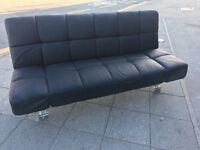 BLACK LEATHER SOFA BED USED IN EXCELLENT CONDITION