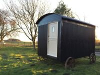 New traditional style shepherd hut constructed to give a vintage appearance