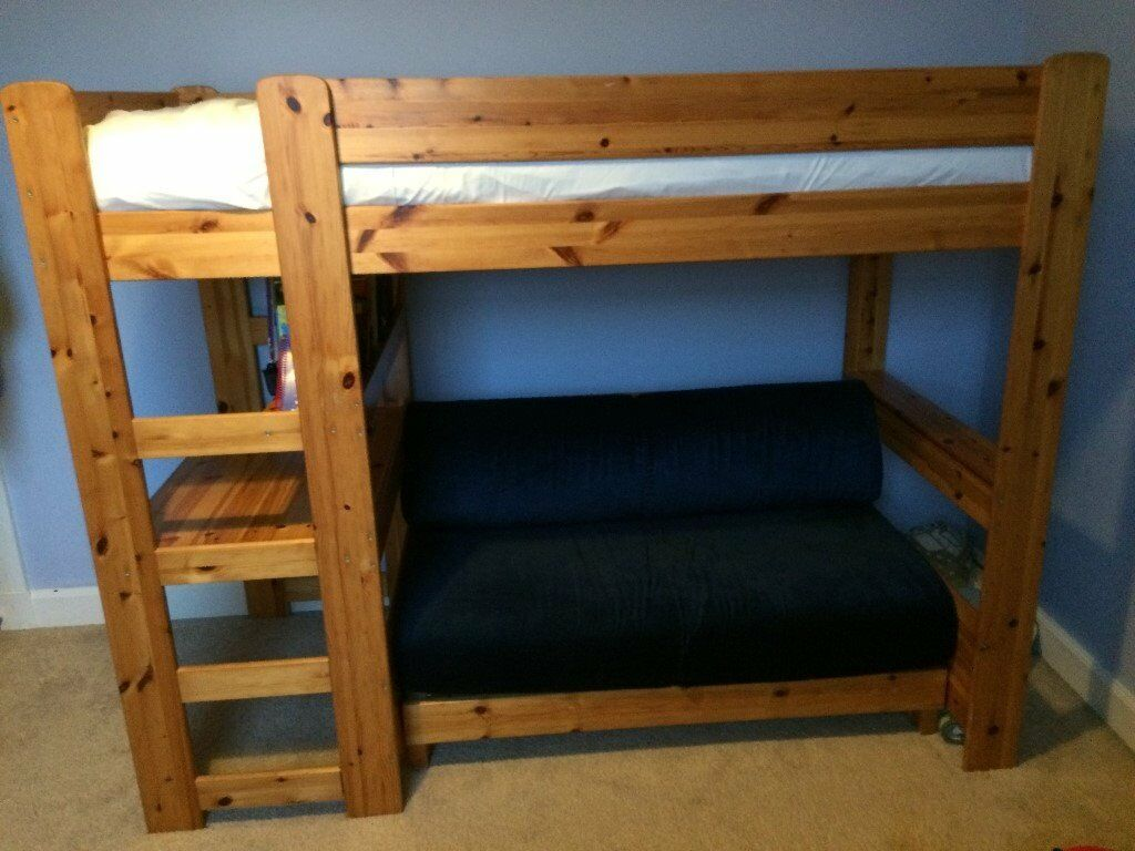 Pine Stompa High Sleeper Cabin Bed With Built Under Pull