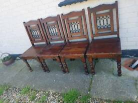 Solid oak wooden chairs