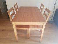 Table + 4 chairs for sale!