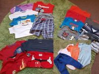 22 Items Toddler Boys bundle of clothing 1 to 2 and some 2-3 years tshirts and shorts