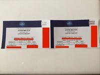 2 x John Mayer. Block 110. Row B. Seated Tickets. 11th May - O2 Arena