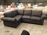 Brand new large suede charcoal corner sofa