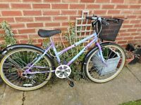 ladies purple and blue 17 inch frame raleigh classisbike with basket and lock