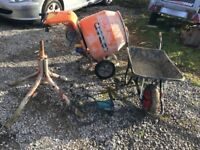 Cement mixer and stand ! 6 inch disk cutter makita ! Wheelbarrow