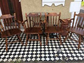 Set Of 4 solid country pine farmhouse carver dining chairs ~ vgc