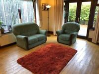 Green Fabric 2 Seater Sofa + Armchair Wood Finish Good Condition Delivery Possible