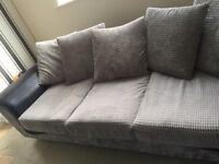 2/3 seater sofa grey and black excellent condition