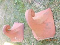 Pair of victorian scroll ridge tile finials