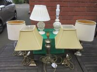 bundle of 7 table lamps