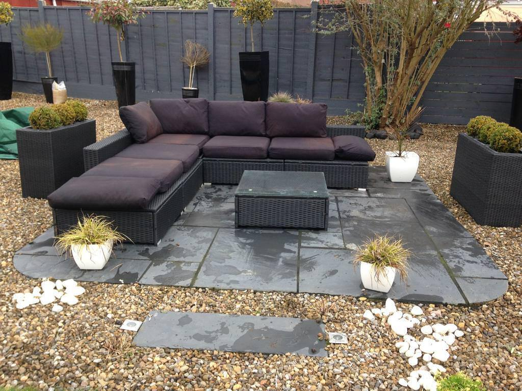 Black rattan garden furniture l shaped sofa coffee table can be split up to two sofa stool £199 york