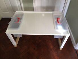Homemade kids storage table