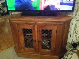 Indian wood corner tv unit