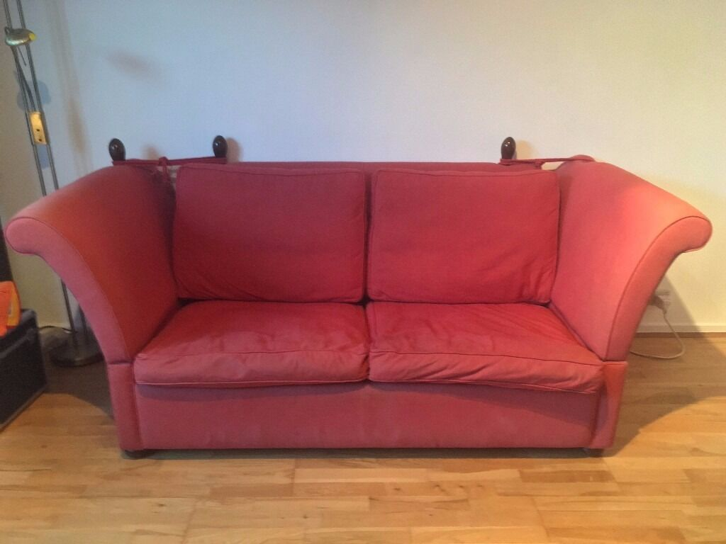 Large Light Red Knole Style 3 Seat Sofa Bed