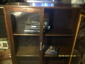 BOOK CASE 30 by 36 by 10 Inches , with 2 GLASS DOORS . ALL In SOLID OAK .++++