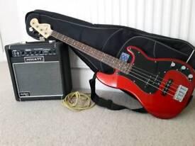 Fender Squier Affinity PJ Bass Guitar & Hiwatt Amp