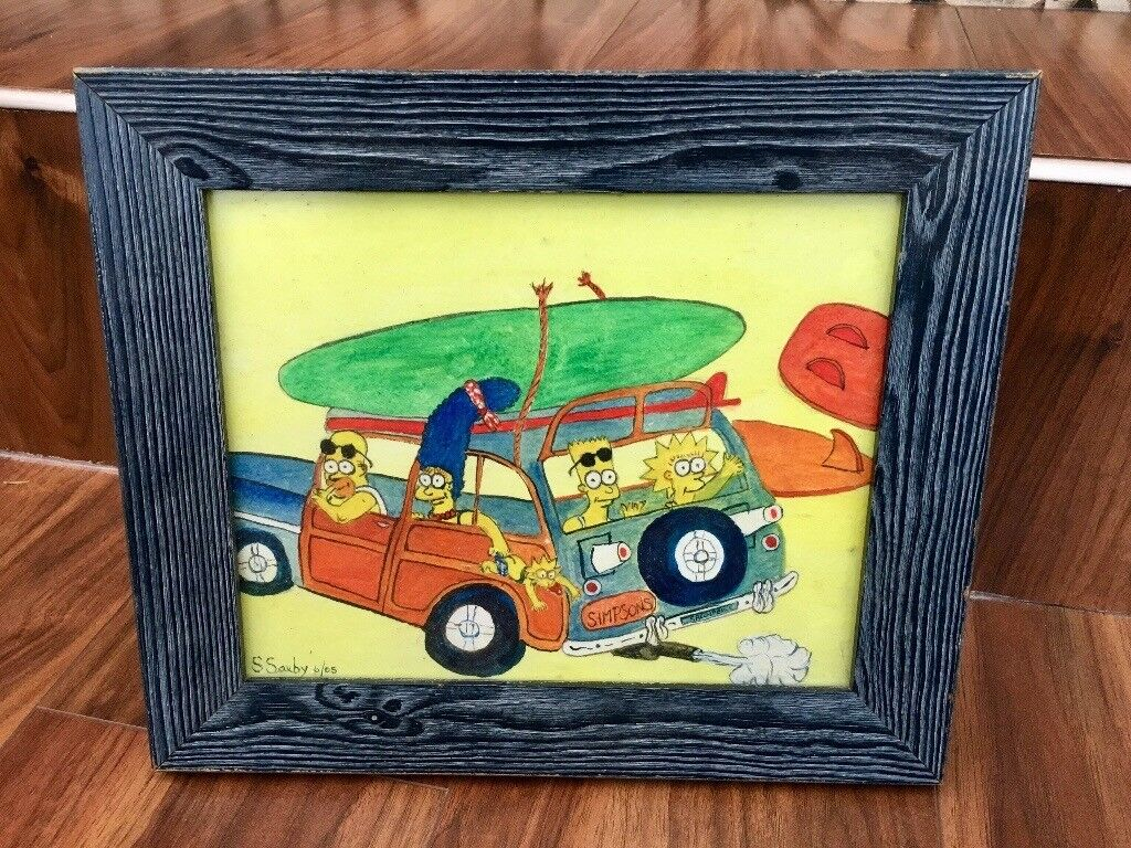 The Simpsons hand drawn painting (with frame)