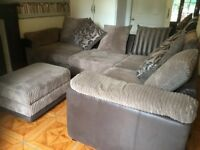 L shaped (3months old) settee with storage foot stool in excellent condition.