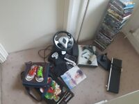 Job lot of car boot stuff, dvd's, xbox 360, bag, pc steering wheel with pedals etc.