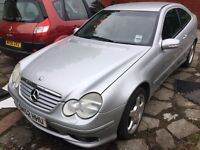 2002 Mercedes C220 CDI AUTO SPORTS COUPE, spares or repairs, runs & drives, MOT until Nov 2017