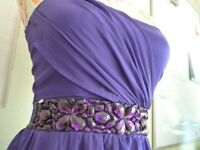 Purple short front/long back sleeveless dress