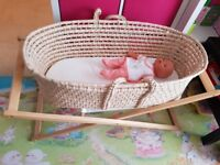 Mothercare moses basket with stand, canopy and new mattress