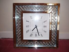 Large square crystals mirrored clock