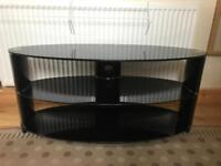 Black glass TV stand for large TVs