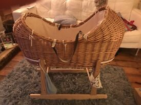 Wicker Moses basket vgc used 2 months