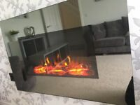 Mirrored electric wall mounted fire with remote control