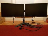"""Dual computer monitor setup up 18"""" with cables, suit Windows PC"""