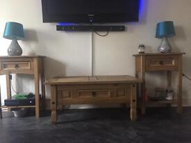 Coffee table, cabinet and site tables