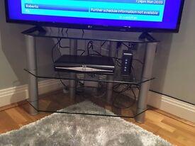 Clear Glass TV Corner Stand