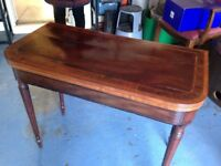 A REGENCY PERIOD MAHOGANY D-END CARD TABLE WITH PROOF OF AGE IN GOOD CONDITION FREE LOCAL DELIVERY