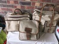 Lovely leather and canvas 3 piece luggage set by rambler