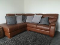 Tan leather corner sofa three years old from a smoke free home