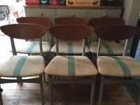 Shabby chic retro vintage dining chairs x 6 Annie Sloan Paris grey