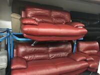 New/Ex Display Red Leather Samara 3 Seater + 2 Seater Sofas