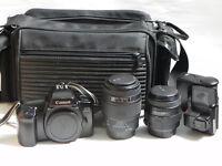 Canon EOS 1000f SLR Film Camera - Sigma 70-210/35-80mm Lens + Bag + Miranda Flashgun