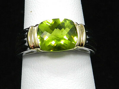 3.10CT Beautiful AAA Quality Cushion Cut  Peridot Ring 14k White/Yellow Gold
