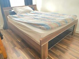 Oak Double bed & Cupboard