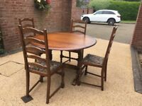 PRIORY FOLDING DINING TABLE & 4 CHAIRS