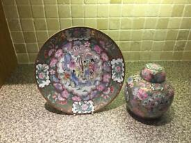 Decorative Chinese Style Plate And Urn