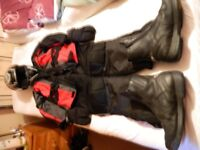Full set Motorcyle Safety wear, Helmet Jacket Trousers Boots and Mittens.